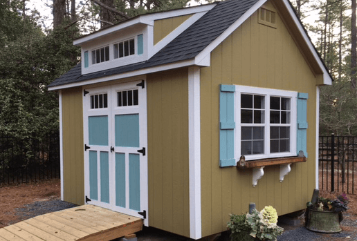 custom shed with dormer and ramp